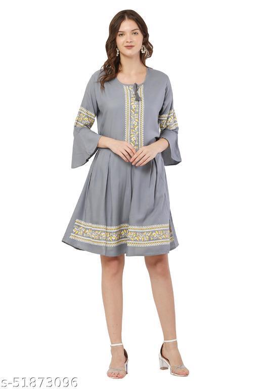 Trendy Grey Color Midi Dress