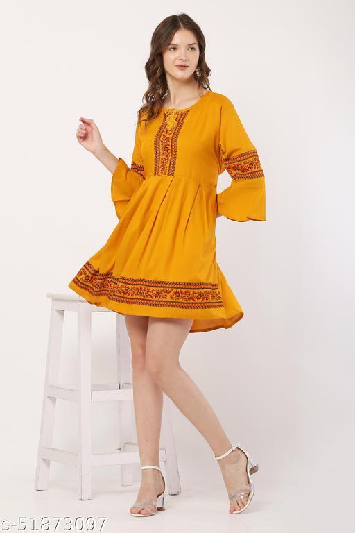 Trendy Mustard Color Midi Dress