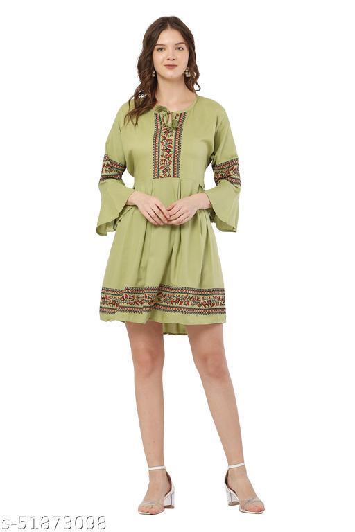 Trendy Olive Green Color Midi Dress