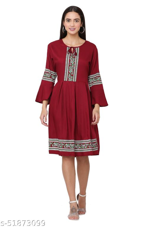 Trendy Maroon Color Midi Dress