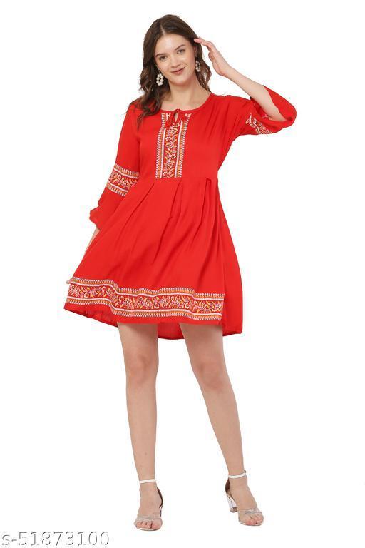 Trendy Red Color Midi Dress