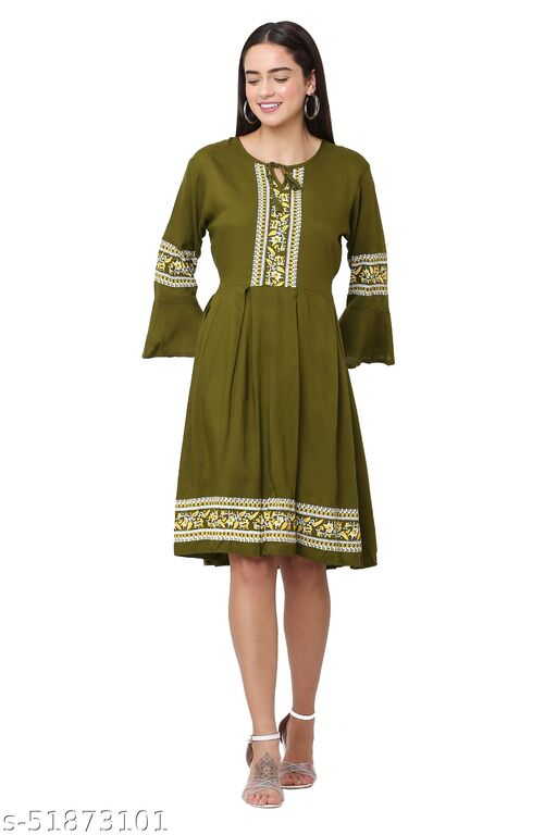 Trendy Mehandi Green Color Midi Dress