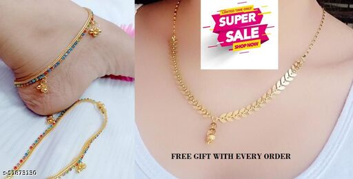 FANCY GOLD PLATED PAYAL WITH MANGALSUTRA
