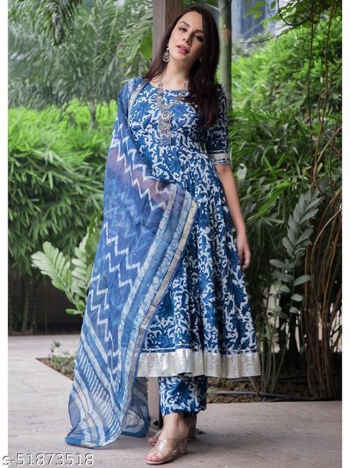 TRNDS ETHNIC  Aachho STYLE Windy Blue Handblock Cotton Kurta With Pant & Dupatta