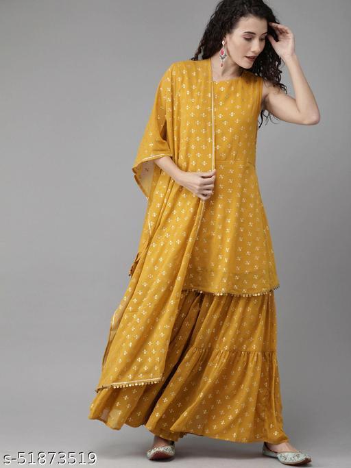 MENA Mustard Yellow & Gold-Toned Printed Kurti with Sharara & Dupatta