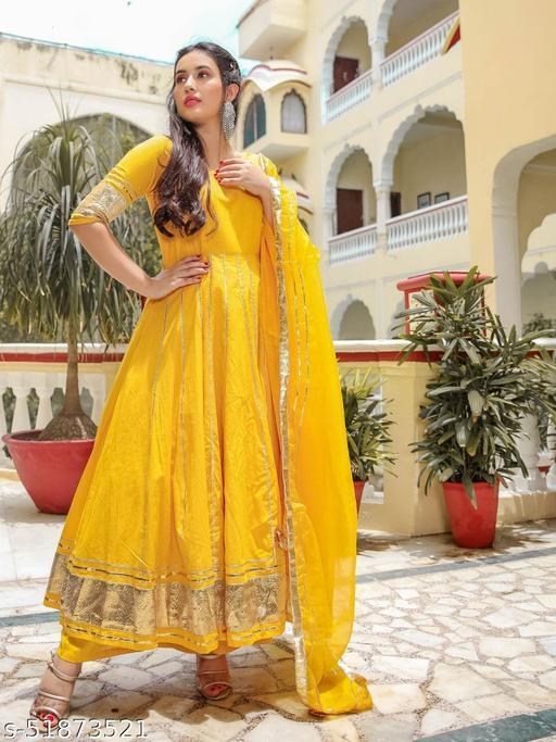 BEAUTY Aachho STYLE Yellow Kurta & TROUSER Palazzo With Dupatta (Set of 3)