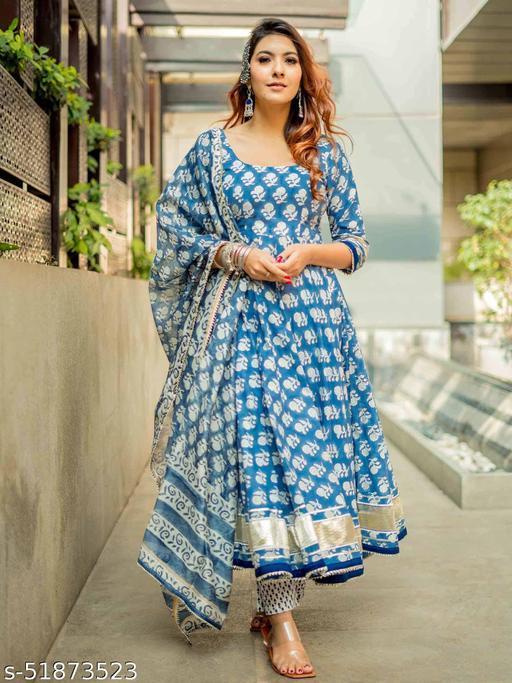 HTK Aachho STYLE Windy Blue Handblock Cotton Kurta With Pant & Dupatta