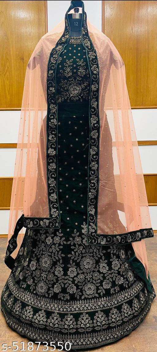 Women's Velvet Semi-Stitched Lehngha Choli - Velvet 56- Green