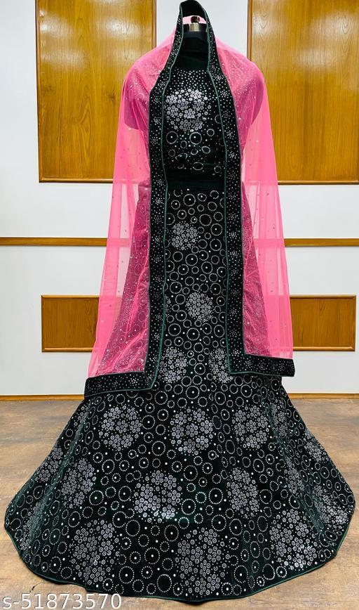 Women's Velvet Semi-Stitched Lehngha Choli - Velvet 53- Green