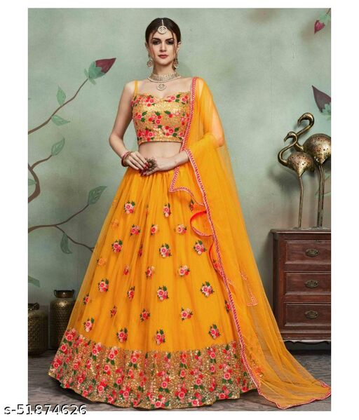 New embroidered sequance yellow color lahengha