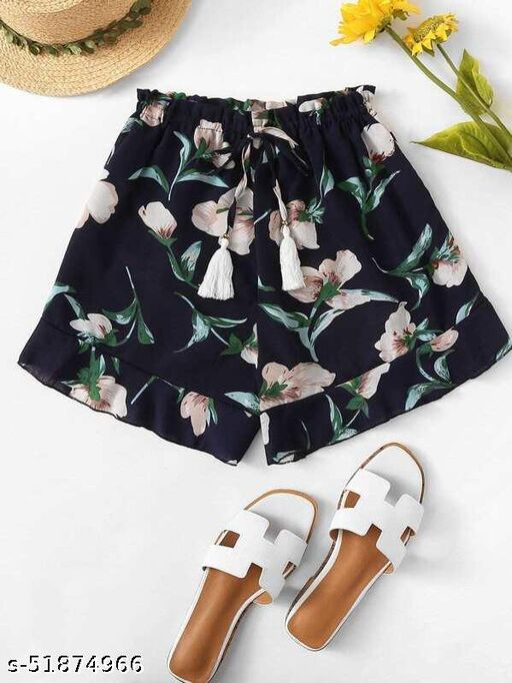 Ruffle Hem Floral Print Drawstring Shorts