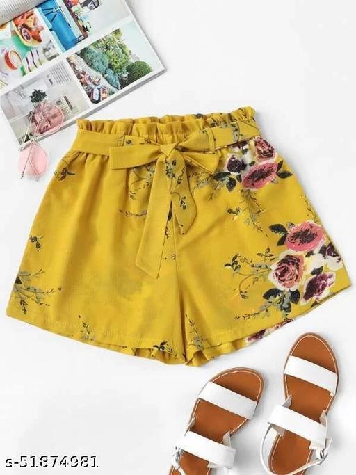 Floral Print Belted Shorts