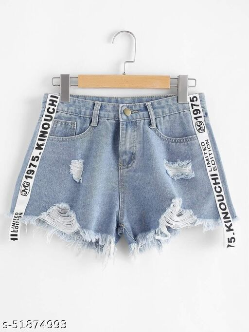 Letter Tape Distressed Denim Shorts