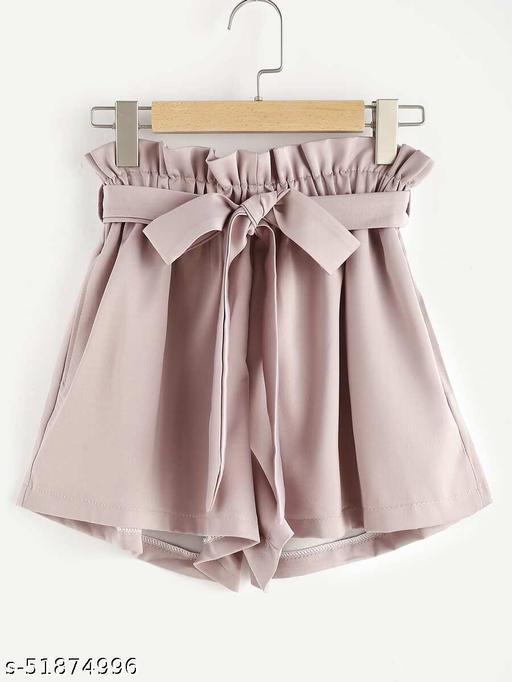 Frill Waist Self Tie Shorts