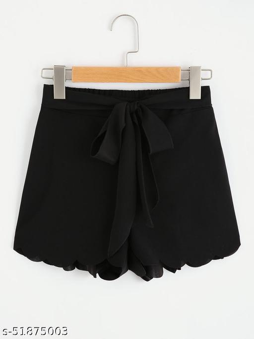 Tie Waist Scallop Edge Shorts