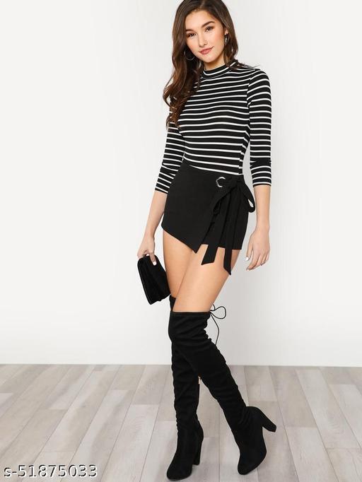 Self Belted Overlap Shorts