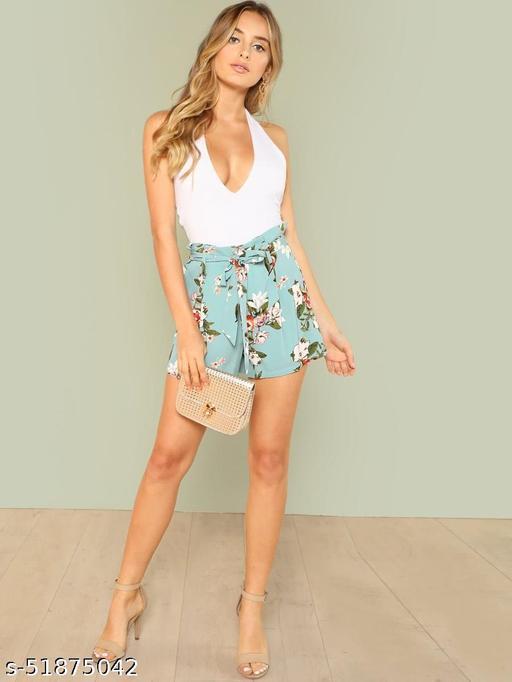 Tie Waist Wide Leg Floral Shorts