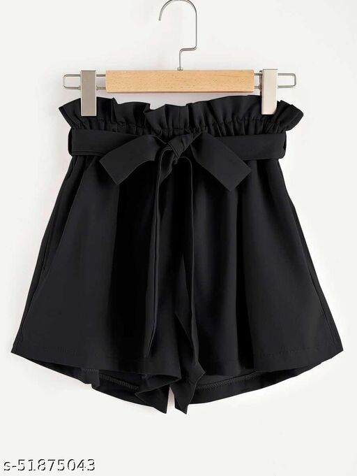 Frill Waist Self Tie Paperbag Shorts