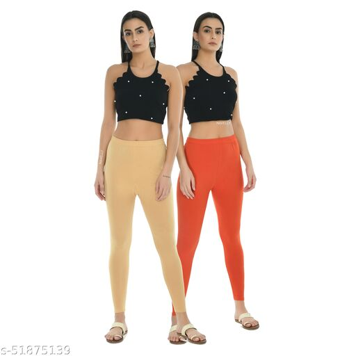 Women Solid Cotton Lycra Ankle length leggings Combo of 2