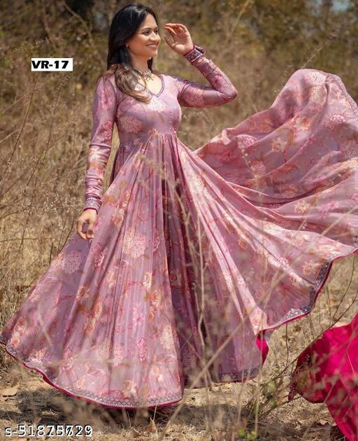 Peach Floral Digital Printed Embdroidery Work Anarkali Gown