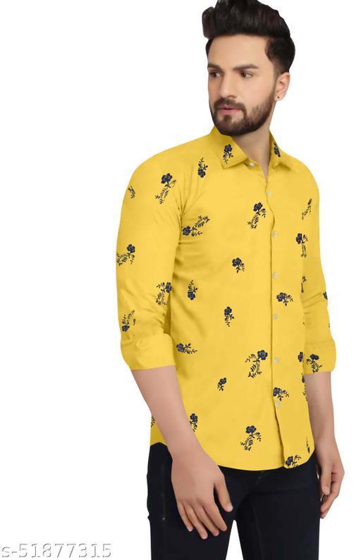 CR Men's Cotton Casual Full Sleeve Shirt - Yellow