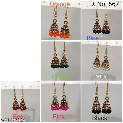 7  Stylish Colors Combo Golden Oxidized Traditional Stud Bali Jhumki Jhumka Earrings for Women and Girls
