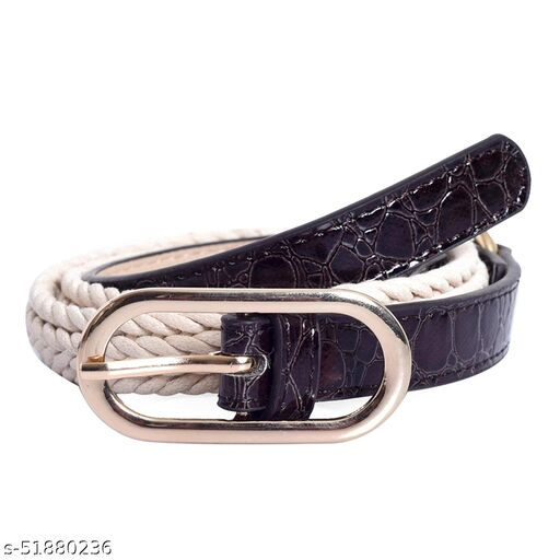 Lino Perros Women Party Purple, White Artificial Leather Belt