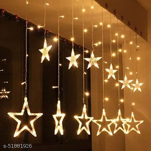 Avish 12 Stars LED Curtain String Lights Window Curtain Led Lights for Decoration with 8 Flashing for Christmas, Wedding, Party, Home, Patio Lawn ( Warm White)