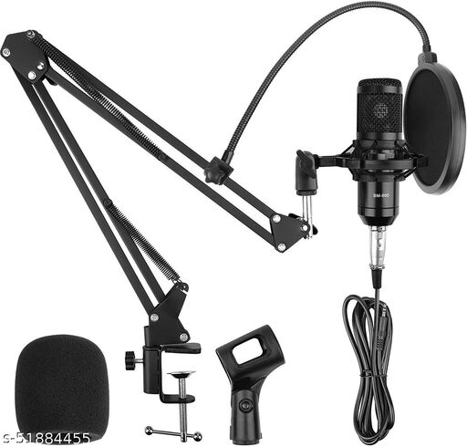 Techtest Bm 800 Condenser Microphone All Set Streaming Mike Podcast Studio Mic for Singing and Recording with Stand and Pop Filter