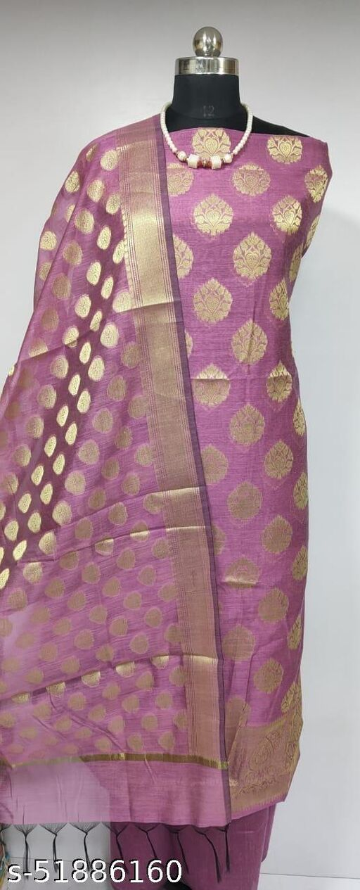 (14Pink) Fashionable Banarsi Cotton Suit And Dress Material
