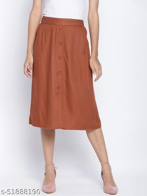 Troffer Brown button down women skirt
