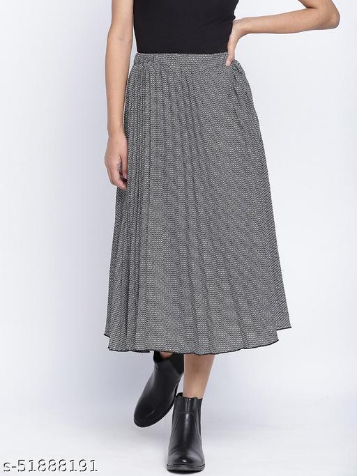 Pestal grey pleated women skirt