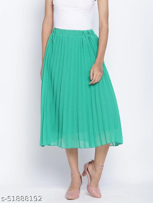 Pop up shiny green Pleated lined women skirt