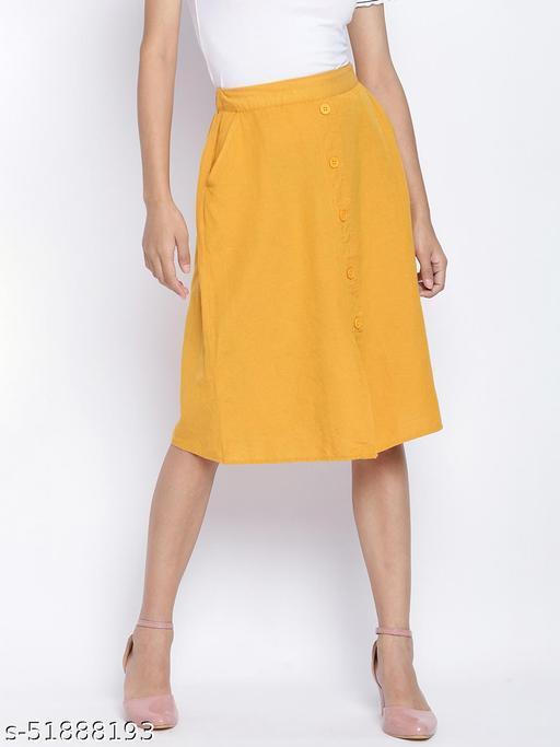 Sun glaze solid button down women skirt