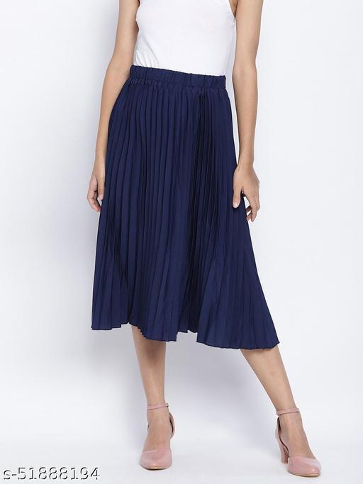 Zaffle solid Blue pleated women skirt