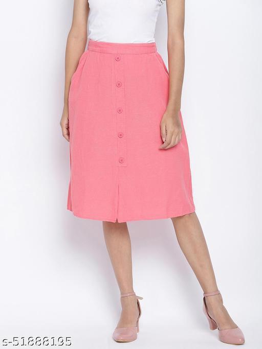 Vegas pink button down casual women skirt
