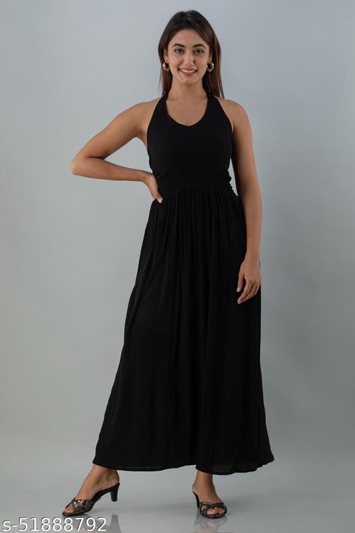 CHEER PAT Womens Crepe Western Wear Dress (Black)
