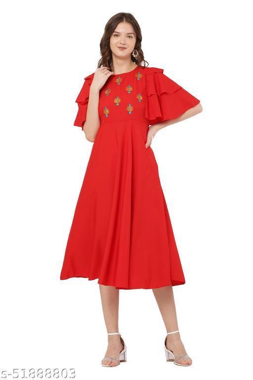 Diva Red Color Flared Dress