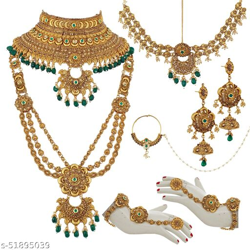 Lucky Jewellery Ethnic Copper Finish Bridal Alloy Gold Plated Green Color Pearl Dulhan Shadi Jewellery Set for Girls & Women