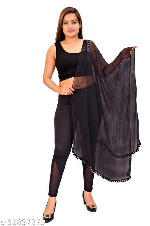 D Fashion solid chiffon with pompom dupatta black 2 mtr