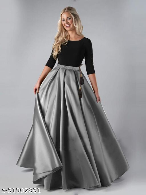 Unique Satin Women And Girls Western Skirts With Bangalori silk unstitched Top
