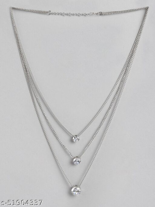 Kord Store Classy Rose Gold Plated Center Stone Fancy Chain Necklace For Girls and Women