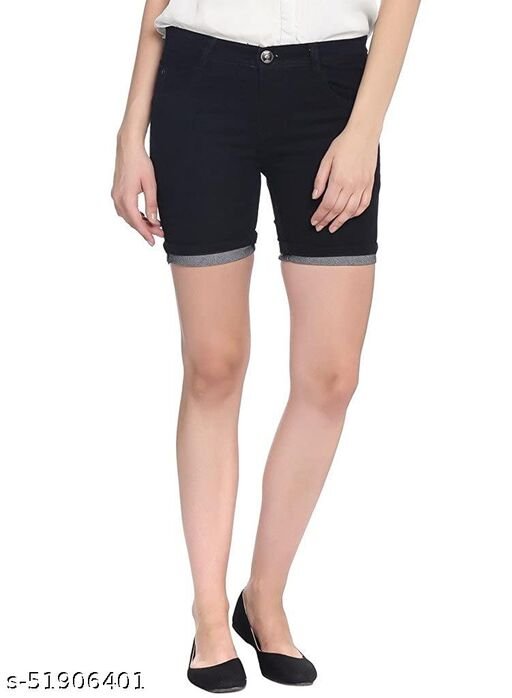 DOCKLY Women's Solid Relaxable Skinny Fit Shorts