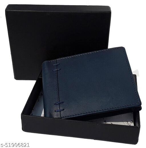 Men Blue Pure Leather Wallet 4 Card Slot 2 Note Compartment