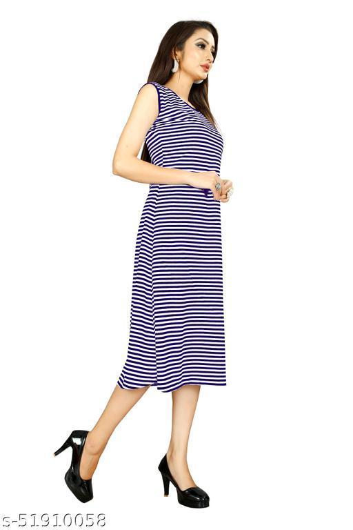 Blue Color Womens Sleeveless Dress