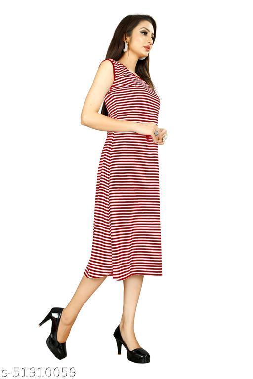 Women's Maroon Color Sleeveless Trending Dress