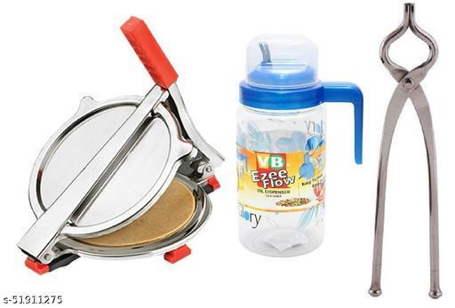 Combo of Stainless Steel Puri/ Roti Maker Press, Stainless Steel Utensil Gripper Tool and Plastic Oil Dispenser