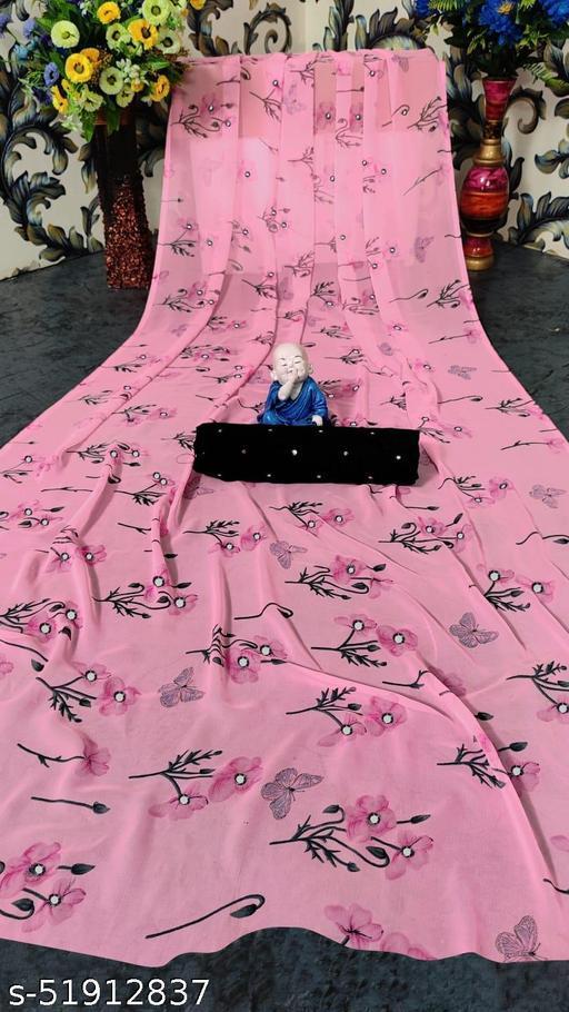 Traditional Single Pink mirror work designer full Printed Saree