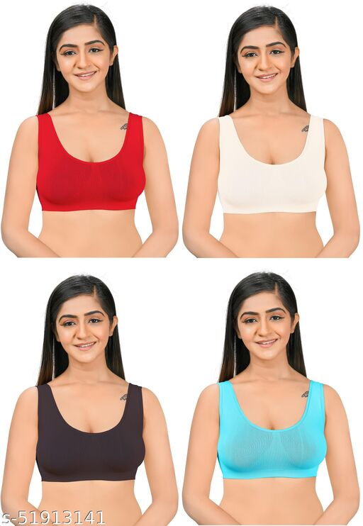 Dylanf Cotton Full Coverage Multicolor bra (pack of 4)