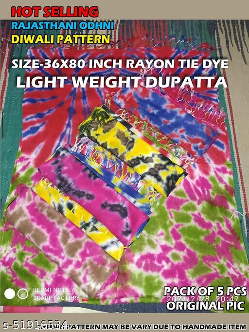 Rayon Dupatta Size-36x80 inches, Floroscent in Color, Clearance SALE, Hurry Up !!! COMBO PACK - 5PCS